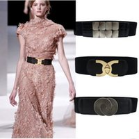 Wholesale wide red elastic belt - women elastic waistband style elastic belt cc button with womens dress with wide waist seal