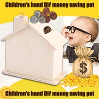 Wholesale Wholesale Diy Coin Banks - Wholesale-New Children Baby Handmade DIY Baipi Wooden Coin House Piggy Bank Chalet Save money Base Art Decor Toy Collectible Ornament Hot!