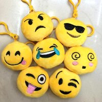 Wholesale Mobile Key Chains - Emoji Key Chains toys 6cm Smiley Small pendant Emotion Yellow QQ Expression Stuffed Plush doll toy for Mobile bag pendant keychains