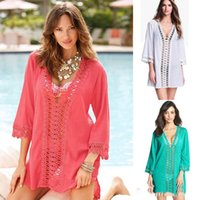 Sexy Bikini weiß schwarz blau Cover Up Lace Hollow Crochet Badeanzug Bademode Beach Dress kostenlos