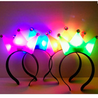 Wholesale led headbands light up - Wholesale- 10pcs lot Hot sale LED Blinking Flashing Crown hairband Light-Up Ear Child Multi-color Birthday Princess headband birthday gift