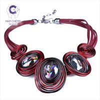 Hancheng New Fashion Leather Rope Handwork Créé Crystal Choker Collier Femmes Colliers Statement Collar Jewelry Bijoux