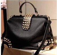 Wholesale Black Studded Messenger Bag - Wholesale-2016 Fashion Punk Studded Rivet Women's Handbag Trendy Black Cool Tote Bag One Shoulder Bag Cross Body Messenger Bag