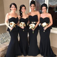 Wholesale Sexy Peplum Bridesmaid Dress - 2017 Elegant African Black Mermaid Bridesmaid Dresses Sexy Sweetheart Peplum Long Train Prom Evening Gowns Custom Made Wedding Guest Dress