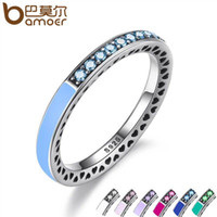 Wholesale Indian Rings Blue - Pandora 925 Sterling Silver Radiant Hearts Air Blue Enamel & Sky Blue Synthetic Spinel Women Ring Silver Jewelry PA7620