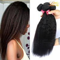 bakire yaki saç uzantıları toptan satış-Fabrika 7A Hint Insan Yaki Saç Demetleri Hint Bakire Insan Kinky Düz Saç Örgü Uzatma Işlenmemiş Hint Yaki Saç Demetleri