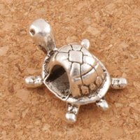 Wholesale 4mm Metal Beads - Tortoise Turtle Metal Alloy 4mm Hole Loose Beads 100pcs lot Antique Silver 12.5x18.5 mm Jewelry DIY L1262