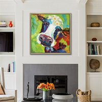 Wholesale Hand Painted Canvas Oil Art - Framed Hand Painted Modern Abstract Pop Cartoon Graffiti Art oil painting Cow,Home Wall Decor On High Quality Canvas size can be customized