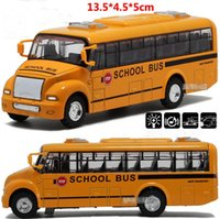 Wholesale City Bus Toy Car - Alloy City School Bus Toy Model Car Light Music For Baby Kids Children Playing Games good quality