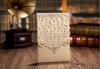 Wholesale Diamond Wedding Invitation Cards - Wholesale- High Quality Laser Pattern Invitation Cards With Diamond Light Gold 186*128mm For Wedding Including Envelopes & Seals