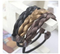 Wholesale Hair Elastic Bracelet - Mixed Colours Faux Wig Stretchy Elastic Hair Bands Rope Ring Hair Extensions chain bracelet