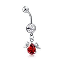 Wholesale Wings Belly Button Rings - 6 Colors 18K White Gold Plated Big Zircon Angel Wings CZ Charm Fashion Body Jewelry Navel Ring Belly Button Ring Party Gift for Women