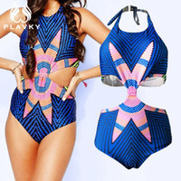 Wholesale Onepiece Woman - 2017 Female Bodysuit Cut Out Trikini Monokini Sexy Onepiece Ladies Whole Plus Size Swimwear Women One Piece High Waist Swimsuit
