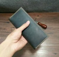 Wholesale Handmade Cowhide Purses - Leather Business Long Wallet, Slim Design, Personalized Leather Business Men's Purse Handmade Crazy Horse Wallet You Can Print Your Name