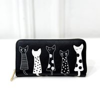 Wholesale Cat Money Purse - Fashion Women Wallets Cat Cartoon Wallet Long Creative Female Card Holder Casual Zipper Ladies Clutch PU Leather Coin Purse Girl Money bag