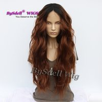 Wholesale Wig Chocolate - New Sexy Lady Long Bodywave Hairstyle Wig Synthetic Black Ombre Copper Chocolate Color Glueless Lace front Wigs for Black Women