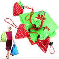 Wholesale Strawberry Reusable Tote Shoulder - Best Price 100 pcs lot Strawberry Foldable Eco Bag Reusable Shopping Tote Shoulder Purse Cute Beauty