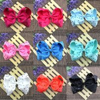 Wholesale Ribbon Covered Hair Clips - 20 Pcs Lot 8 Inch Colorful Rhinestone Covered Ribbon Bows With Clip Girls Hair Clips Hairpin Hair Bow Barrettes Beautiful HuiLin FY61