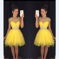 Wholesale free lovely picture for sale - Group buy Jewel Neck Homecoming Dresses Lovely Beaded Knee length Tulle Yellow th Grade Graduation Party Dresses Vestido De Fiesta