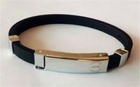 Wholesale Titanium Ionic Magnetic Bracelets - Wholesale-1pcs new arrival 100% top silicone energy bracelet Titanium ionic magnetic bangle keep balance ion hologram wristband
