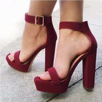 Wholesale Open Dress Shoes - Fashion Super High Heels Open Toe Platform Women Sandals 2017 New Gladiator Ankle Straps Summer Shoes Dress Party Shoes Woman
