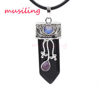 Wholesale Black Onyx Agate Pendant - musiling Jewelry Sword Pendants Natural Stone Reiki Pendulum Onyx Black Agate Europe and America Charms Amulet Accessories Mens Jewelry