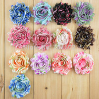 Wholesale Shabby Flowers Leopard - New Arrival 2.5in Chic Shabby Frayed Chiffon Flowers Leopard Printing Rosette Flower Hair Accessory Free Shipping 20pcs lot FH22
