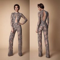 Wholesale Dress Jumpsuits For Women - Illusion Long Sleeve Berta Evening Gown Hollow Back Jumpsuit Designer Beads Sexy Dresses Evening Wear Pants For Women Arabic Prom Dress