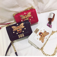 Wholesale Tas Pu Leather - Luxury Bee Bags Handbags Women Famous Brands Handbag Fashion Leather Lock Design Shoulder Bag Dames Tas Kabelky