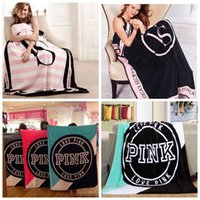 Wholesale Sofas Letter - Pink Letter Blanket VS Pink Fleece Blanket 130*150cm Sofa Travel Blankets Air Condition Beach Towel Blankets 100pcs OOA2729