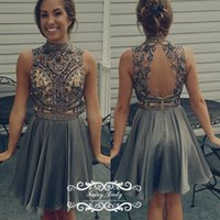 Wholesale Grey Open Back Prom Dress - New Silver Grey Junior Girls Short Homecoming Dresses 2017 Sheer High Neck Major Beading Crystal Open Back Prom Dress Party Gown