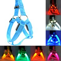 Wholesale Cartoon Harness - 6 Colors Battery Operated LED Flashing Dog Harness Collar Belt Pet Cat Dog Tether Safety Light Collars Pet supplies Flashing LED Leashes