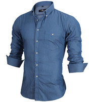 Wholesale Masculine Shirt - Wholesale- Long Sleeve Denim Shirts Men Casual Shirt Fashion Slim Mens Jeans Shirts Brand Camsia Masculine EU SIZE S-XXL Z2456A