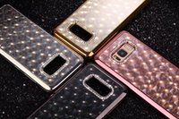 4D Diamond Chromed Soft TPU Case pour Iphone X 8 7 6 6S Plus Galaxy S8 S8 + Plus Pendentif coloré Ring Hole Luxe Bling Housse de couverture métallique