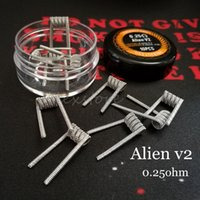 Wholesale Flat Steel Coil - Alien v2 Coils Wire 0.25ohm 0.4mm*3+0.25mm 316L Stainless Steel Material Wave Flat Clapton Premade Wrap Prebuilt Wires for RDA Vape