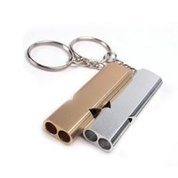 Wholesale Whistle Clips - Outdoor Alloy Survival lifesaving emergency SOS Whistle With Pocket Clip Lightweight Aluminum EDC Tools For Hiking Camping