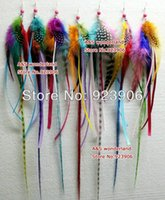 "Wholesale Hair Feathers Grizzly Clip - 16"" long grizzly feather earring with rainbow satin color women's fashion earring hair clip extensions 20pcs lot"