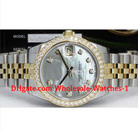 Wholesale 18kt Gold Watches - New arrive Luxury watches free gift box Wrist watch MidSize 31mm 18kt Gold SS MOP Diamond 178383