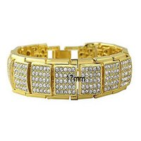 bracelet de tennis plaqué or 14k achat en gros de-Hot Hip Hop CUBAN 17mm Carré CZ CRYSTAL 14K Plaqué Or Rock Punk Chaîne Bracelet hip hop pour les accessoires professionnels