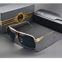 Wholesale Shiny Black Coats - Brand sunglasses grandmaster five men brand design retro vintage summer style women sun glasses shiny 18K gold coating mirror lens with BOX