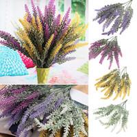 Wholesale Plastic Bouquet - 25 Heads Artificial Lavender Flower Plastic Bouquet Floral DIY Beauty Home Wedding Decoration