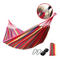 Wholesale cm Double Hammock People Canvas Hamac Camping Survival Hamaca Widen Lengthen Garden Sleeping Hamak rede de dormir