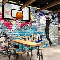 Wholesale Picture Bricks - Wholesale- Custom Mural Wallpaper Modern Art Abstract Painting Graffiti Brick Wall Basketball Living Room TV Backdrop Decorative Pictures