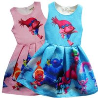 Wholesale Trumpet Bowknot - 2017 Girl's Dresses Girl Trolls Poppy Branch Princess Dress Children high quality cartoon bowknot sleeveless vest dresses clothes