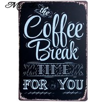 Wholesale Ordering Metal Art Wholesale - Wholesale- [ Mike86 ] COFFEE BREAK TIME Wall Painting ART Home Bar Painting Cafe Metal Retro Poster Decor AA-284 Mix order 20*30 CM