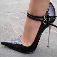 Chaussures Extreme High Heel Sexy Fetish High Heel BUCKLE STRAP Single Sexe Sexe POMPES Noir