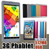 Wholesale Mtk Call Tablet Pc - 50X 2017 7 inch 3G Phablet Android 4.4 MTK6572 Dual Core 8GB 512MB Dual SIM GPS Phone Call WIFI Tablet PC Bluetooth B-7PB