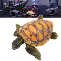 Wholesale Turtle Fish Tanks - Free shipping Stylish Aquarium Ornament Polyresin Turtle Tortoise Fish Tank Decoration Supply