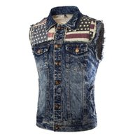 Wholesale wholesale sleeveless denim jackets for sale - New Arrival Men s Denim Vest Jeans Vest Men Cowboy Vest Denim Sleeveless Printed American Flag Patchwork Jacket For Men