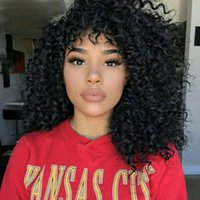 Hot beautiful kinky curly full perruques simulation cheveux humains bouclés perruques complets en stock livraison gratuite